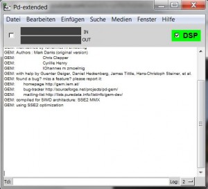 Screenshot der Puredata Konsole